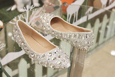 Bling Silver crystal Wedding shoes Bridal flats low high heel pump size 5-12