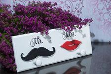 Shabby Chic Wooden Key COAT Rack  KEYS Holder Storage Moustache Lips MR & MRS