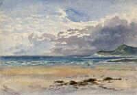 LOUISA RUSSELL SALMON Watercolour Painting POSSIBLY WOOLACOMBE DEVON COAST c1928