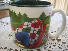 "Potpourri Golfing Santas Jeanne Beury 1994 Made In Korea Mug, 3 1/2"" T, 3 1/2"" D"