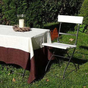 Tischdecke Leinen Cremeweiß/Braun Maßanfertigung 160-180 cm x 160-180 cm