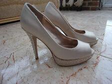 Dorothy perkins femmes beige satin bout ouvert/chaussures compensées, daimant 4 uk - 37 eu