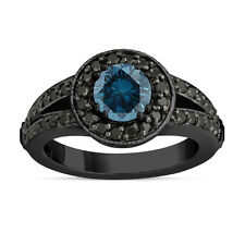 Enhanced Fancy Blue Diamond Engagement Ring 14k Black Gold Vintage Style 1.56ct