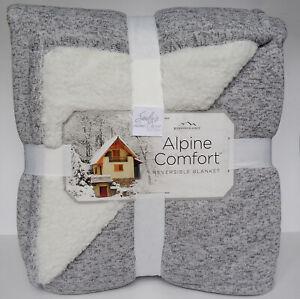 Berkshire HEATHER GRAY * Full Queen Bed BLANKET Cabin grey JERSEY KNIT + SHERPA