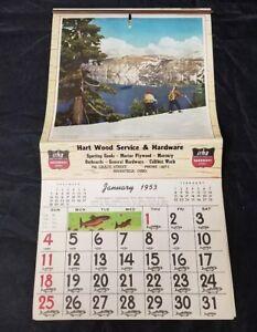 Vintage 1953 Sportsman's Calendar Color Pictures Tips on Back, Complete Irha