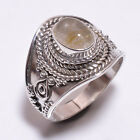 925 Sterling Silver Ring Size US 6.5, Golden Rutile Gemstone Jewelry CR3336