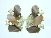 Vintage Gold Tone Brown Thermoset Aurora Borealis Rhinestone Clip Earrings
