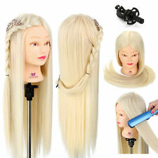 26'' Human Hair Practice Training Head White Hairdressing Mannequin Doll + Clamp