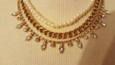 """Pearl Strand Thick Goldtone Chain 16""""Choker 3 Tier Faux Diamond Studed Faux"""