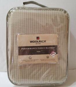 Woolrich Performance Fleece Throw Blanket Twin 66x90 Tan New Scotchguard