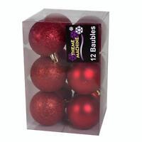 12 Pack Christmas Tree Decoration  60mm Glitter / Plain Baubles - Choose Colour