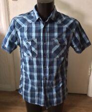 "Blue Check Cotton Shirt Size M Approx 40"" Chest"