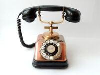 1930's KTAS Antique Denmark Desk Phone Telephone D30 Copper Bakelite Rotary Dial