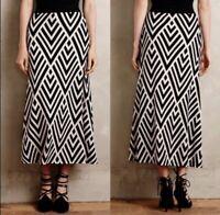 Anthropologie Maeve Knit Stripe Geometric Ivory Black Maxi Long Sweater Skirt XS