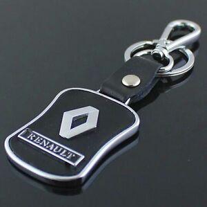 LG73 PU Leather Black Buckle Keyring For Renault Car Logo Key Ring Keychain Gift