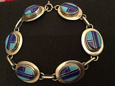 Native American Sterling Silver Multi-Color Inlay Oval Link  Bracelet Gorgeous