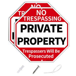 "No Trespassing Signs,12"" x 12"" .40Aluminum Private Property Anti UV Warning Sign"