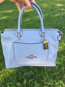 NWT Coach F31467 Blue Pebble Leather Cornflower Satchel Handbag $398