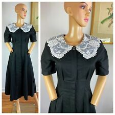 Vintage 70s Black Linen Goth Wednesday Adams Button Up Lacy Collar Dress S