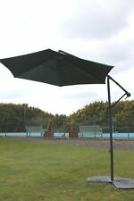 Cantilever 2.7M Wide Hanging Garden Parasol In A Green Colour With Crank