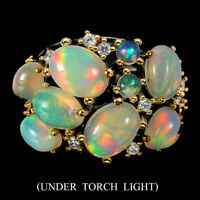 Unheated Oval Fire Opal Rainbow Full Flash 8x6mm Cz 925 Sterling Silver Ring