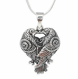 Sterling Silver Viking Odin's Raven Birds Pendant