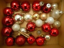 """25 VINTAGE mix 1"""" + GLASS BAUBLES red silver TREE XMAS HANGERS ROUND BALL SMALL"""