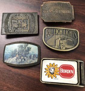 Lot of 5 BELT BUCKLES Schaefer, Raleigh Lights, Harley-Davidson, Borden