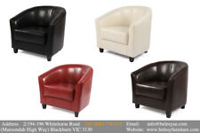 1 Seater Cafe Lounge Couch ACCENT Tub Armchair PU Dining Sofa Chair Pub Seat New