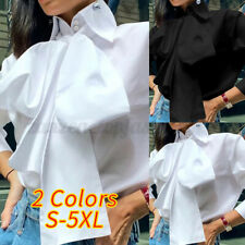 Women Long Sleeve Bow Tie Neck Shirt Blouse Casual Office OL Party Plain Top Tee