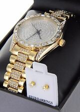 Women Luxury Gold Finish Fully  Iced Out Lab Diamond Watch, Stud Earring Set