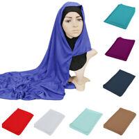 Muslim Women Maxi Solid PLAIN JERSEY Hijab Head Scarf Shawl Wrap Stole 180*86CM