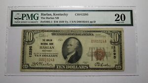 $10 1929 Harlan Kentucky KY National Currency Bank Note Bill Ch. #12295 VF20 PMG