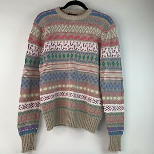 VTG 90s Ralph Lauren Chaps Men's Knit Sweater Fish Waves Hooks