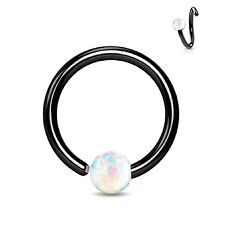Stainless Steel Body Jewelry Piercing Nose Hoop Ring 16G (8mm) Created-Opal Ball