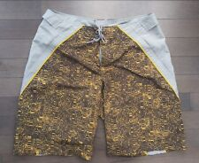 NIKE shorts swim trunks mens Size CL GRAY YELLOW BROWN shorts Euc