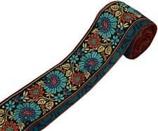 4.5 pollici W VINTAGE Sari indiano bordo Craft Trim Tessuto Nastro Di Pizzo Nero Floreale