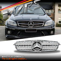 Chrome Black Front Bumper Bar Grille grill for Mercedes-Benz W204 AMG C63 07-11