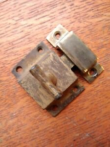 Antique T-Handled Iron Cabinet Latch & Brass Keeper c1885