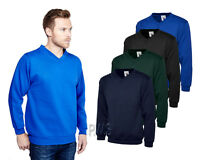 Uneek Premium V-Neck Sweatshirt 300gsm Mens Sweater Polycotton Jumper (UC204)