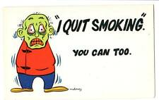 "Vintage comic postcard plastichrome ""I Quit Smoking. You can too"" insane zombie"