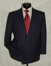 D-638 Vtg Double Breasted Men's Blue p/s custom PORTLY suit jacket 40 pant 38 S