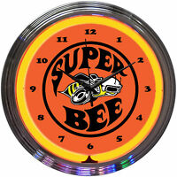 neon clock Chrysler Super Bee Dodge sign Hemi Powered Mopar Scat Pack lamp
