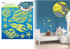3D Glow in the Dark OUTER SPACE wall stickers 14 decals decor rocketship planets