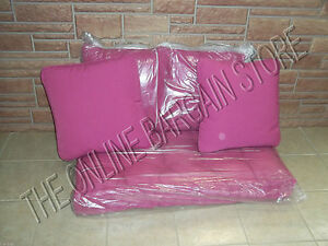 Frontgate Outdoor Bench Loveseat Chair sofa cushion 4 pillow fushia pink 44x24