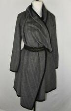 Funktional Anthropologie Women XSmall Grey Wool Blend  Jacket Wrap Belted Dress