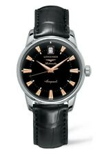 Longines Conquest Heritage Automatic Black Dial Watch Alligator Strap *Reduced*