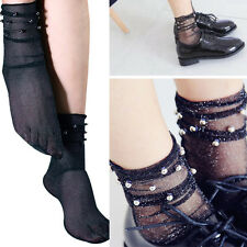 Pair of Sheer Glitter Mesh Soft Ankle High Socks Beaded Lolita Pin-Up Vintage OS