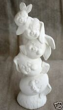 Ceramic Bisque Stacked Egg Bunnies Nowell Mold 1839 U-Paint Ready To Paint
