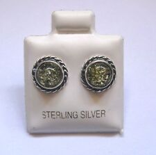Sterling Silver Round Green Amber with braided edges Stud Earrings